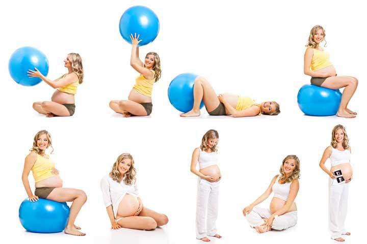 אישה בהריון עושה מספר תרגילי התעמלות